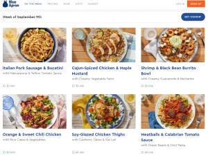blue apron meal options on website