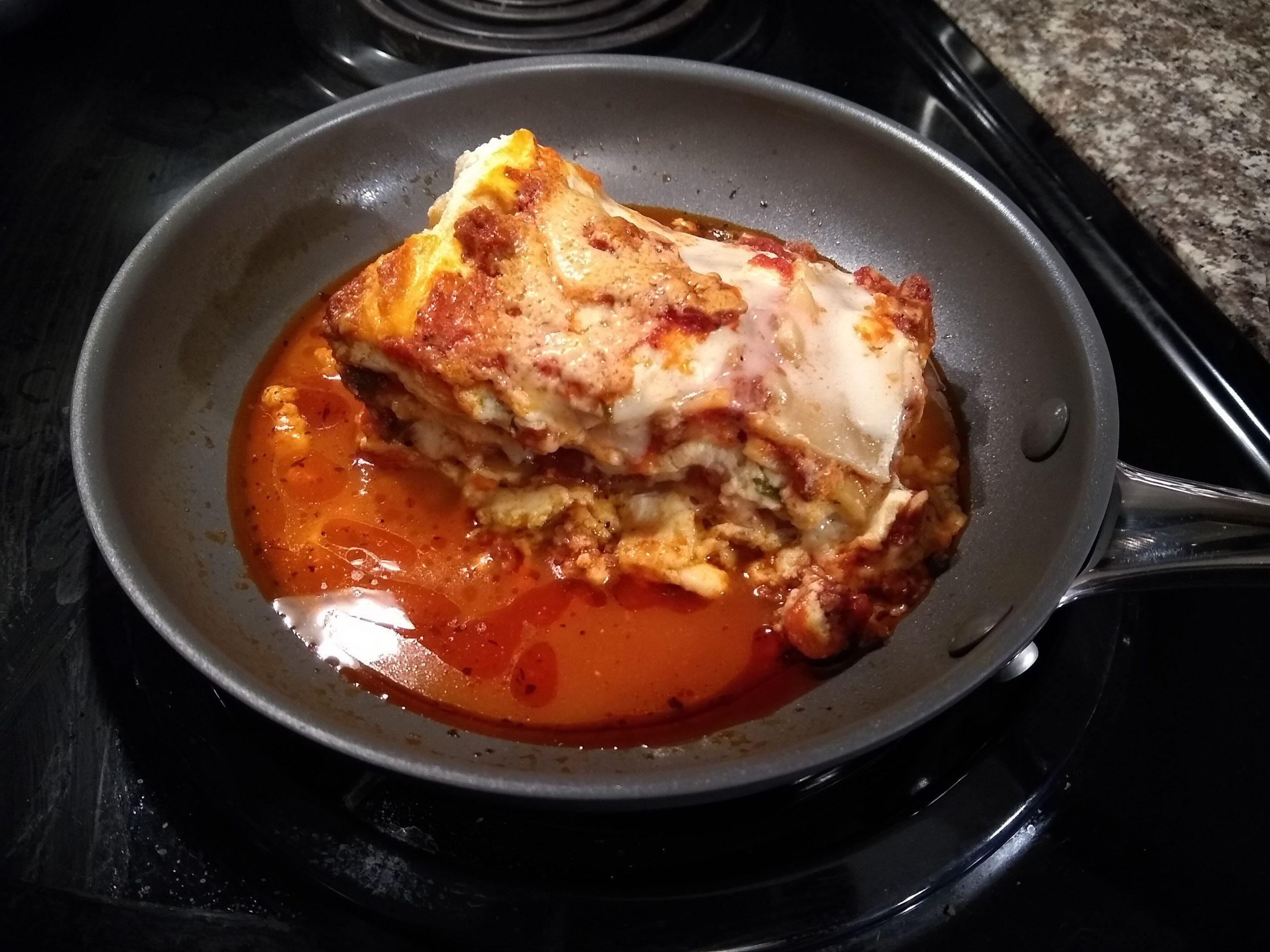 reheating lasagna in skillet